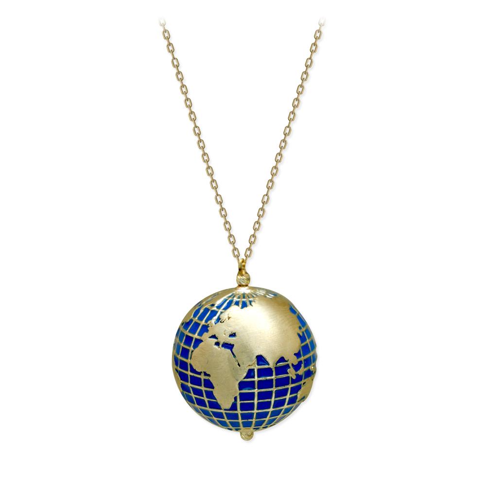 Dünya Figürlü Altın Kolye