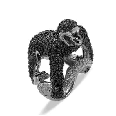 Siyah Beyaz Pırlanta Maymun Yüzük