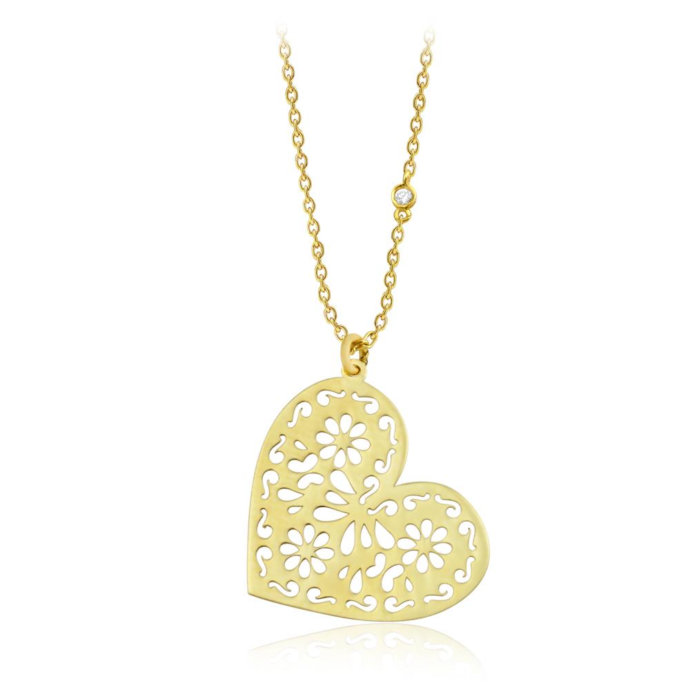 Pırlanta Kalp Altın Kolye