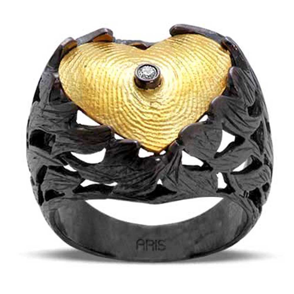 Pırlantalı Parmak İzi Yüzük Altın ve Gümüş