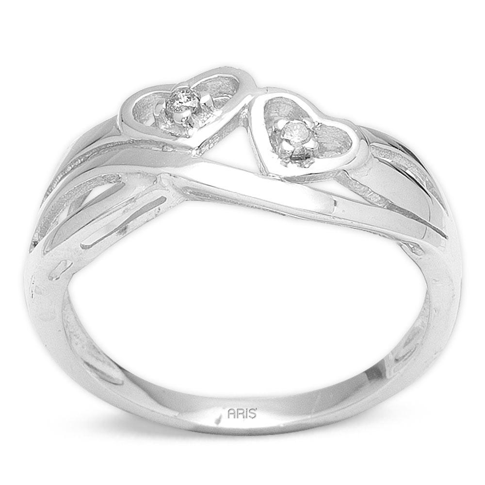 Pırlanta Gümüş Kalp Yüzük