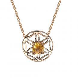 Ametist- Sitrin Yaşam Çiçeği Altın Kolye