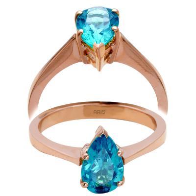Sitrin-Peridot-Mavi Topaz Taşlı Altın Yüzük