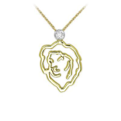 Pırlanta Aslan Burcu Altın Kolye Leo