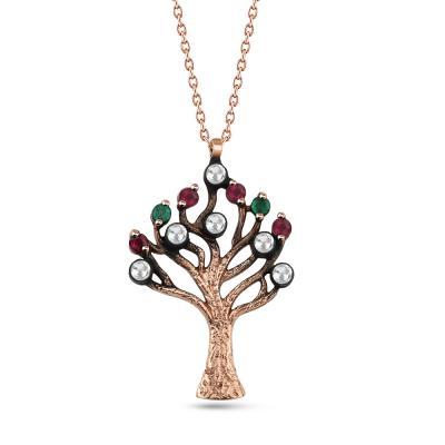 Elmas Hayat Ağacı Altın Kolye