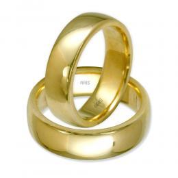 Klasik Bombeli İkili Altın Alyans (6 mm)