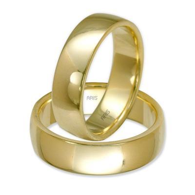 Klasik Bombeli Sarı Altın Alyans (6 mm)