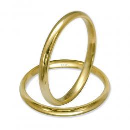 14 Ayar Altın Bombeli Çift Altın Alyans      (2 mm)