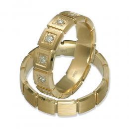Pırlantalı Altın Desenli Alyans