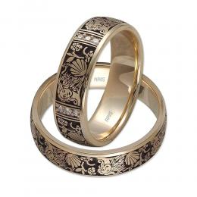 Altın Pırlantalı Desenli Evlilik Alyansı