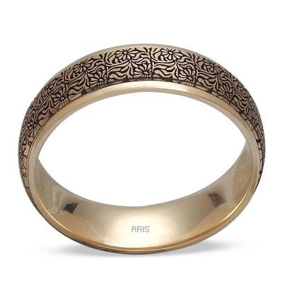 Pırlantalı Altın Desenli Evlilik Alyansı Seti