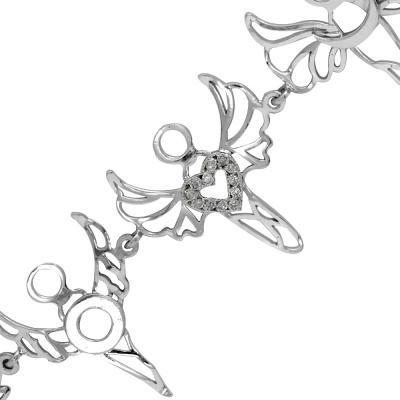 7 Melek Pırlanta Gümüş Bileklik