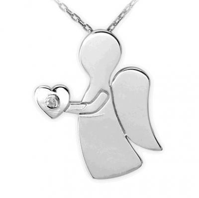 Pırlanta Kalbimin Meleği Gümüş Kolye