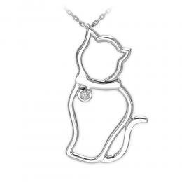 Pırlantalı Kedi Gümüş Kolye