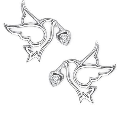 Pırlanta Gümüş Kuşlu Küpe