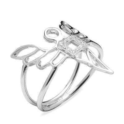 Pırlanta Gümüş Bereket Meleği Ariel Yüzük