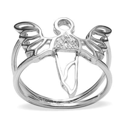 Pırlanta Gümüş Güç Meleği Sandalfon Yüzük