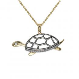 Pırlanta Kolye Doğa Kaplumbağa