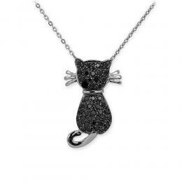 Siyah Pırlanta Kedi Kolye Altın Kitty