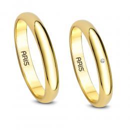 Pırlanta Bombeli Altın Evlilik Alyansı
