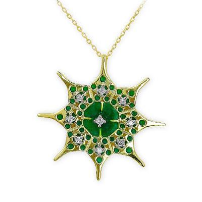 Pırlantalı Yeşil Mineli (Denge-Alg/Pediostrum Simplex) Sembol Kolye