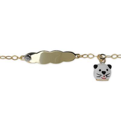Kedi Figürlü Pırlanta Bebek Bileklik