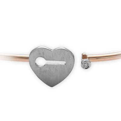 Kalp Pırlanta Gümüş Bilezik