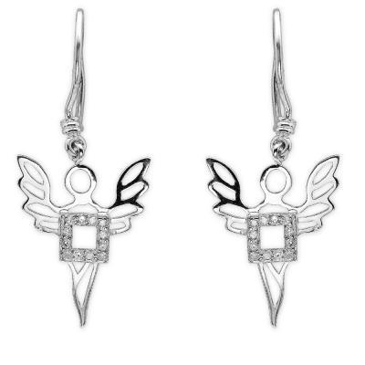 Pırlanta Gümüş Bereket Meleği Ariel Küpe