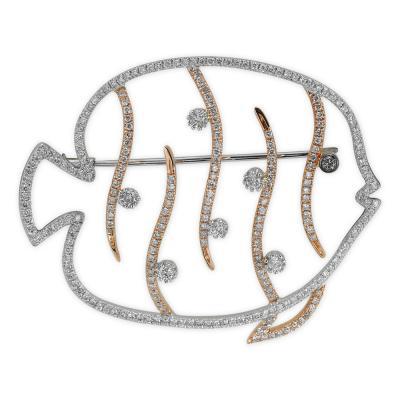 Pırlantalı Balık Broş