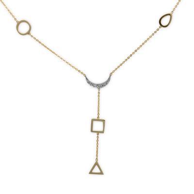 Pırlantalı Altın Dört Element Sembol Kolyesi