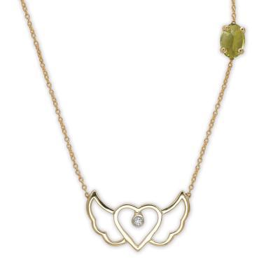 Peridot Pırlanta Kalp Altın Kolye