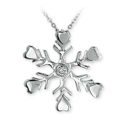 Pırlanta Kar Tanesi Gümüş Kolye