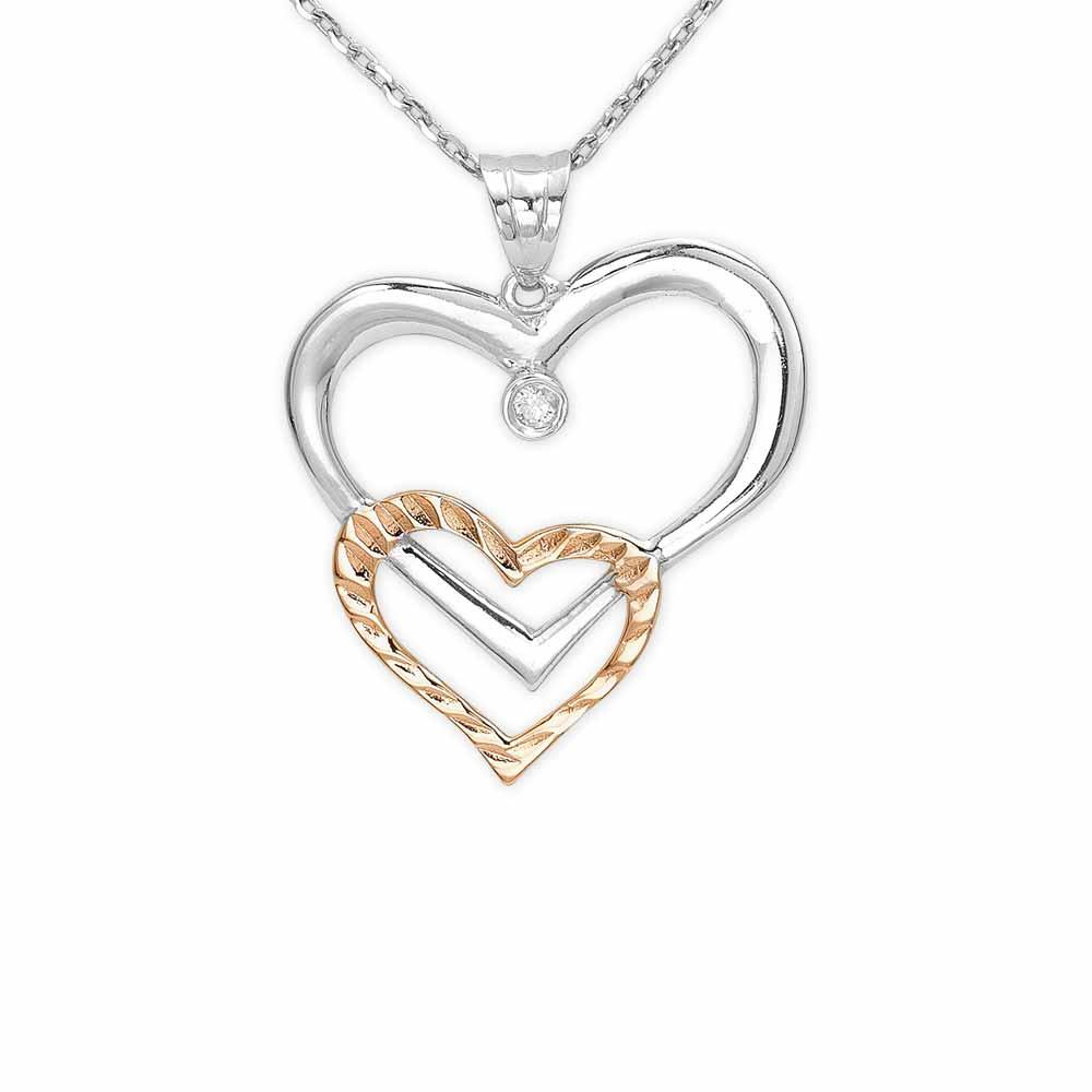 Pırlanta Kalp Gümüş Kolye