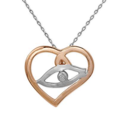 Kalpli Pırlantalı gümüş Kolye