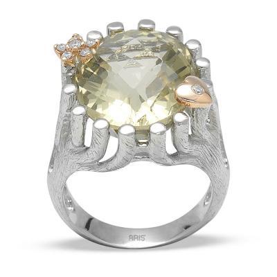 Pırlanta Peridot Fantezi Gümüş Yüzük