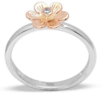 Pırlanta Çiçek Gümüş Yüzük