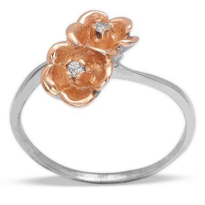 Pırlanta Gümüş İkili Çiçek Yüzük
