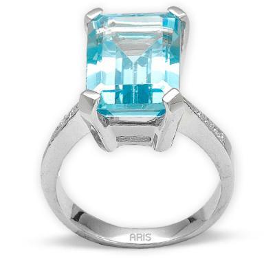 Pırlanta Blue Topaz Gümüş Yüzük